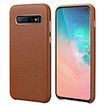 Soft Luxury Leather Snap On Case Cover P03 for Samsung Galaxy S10 Brown
