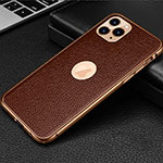 Soft Luxury Leather Snap On Case Cover R01 for Apple iPhone 11 Pro Max Brown
