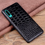 Soft Luxury Leather Snap On Case Cover R01 for Huawei P30 Black