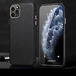 Soft Luxury Leather Snap On Case Cover R02 for Apple iPhone 11 Pro Max Black