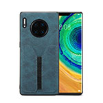 Soft Luxury Leather Snap On Case Cover R02 for Huawei Mate 30 Pro Blue