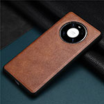Soft Luxury Leather Snap On Case Cover R02 for Huawei Mate 40 Pro Brown