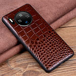 Soft Luxury Leather Snap On Case Cover R03 for Huawei Mate 30 Pro Brown