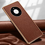 Soft Luxury Leather Snap On Case Cover R04 for Huawei Mate 40 Pro Brown