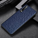 Soft Luxury Leather Snap On Case Cover R04 for Huawei P30 Blue