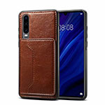 Soft Luxury Leather Snap On Case Cover R05 for Huawei P30 Brown