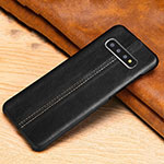 Soft Luxury Leather Snap On Case Cover R06 for Samsung Galaxy S10 Black