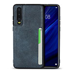 Soft Luxury Leather Snap On Case Cover R08 for Huawei P30 Blue