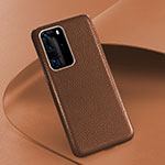 Soft Luxury Leather Snap On Case Cover R08 for Huawei P40 Pro Brown