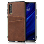 Soft Luxury Leather Snap On Case Cover R09 for Huawei P30 Brown