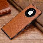 Soft Luxury Leather Snap On Case Cover S01 for Huawei Mate 40 Pro Brown