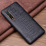 Soft Luxury Leather Snap On Case Cover S01 for Oppo Find X2 Pro Black