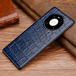 Soft Luxury Leather Snap On Case Cover S02 for Huawei Mate 40 Pro Blue