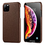 Soft Luxury Leather Snap On Case Cover S03 for Apple iPhone 11 Pro Max Brown