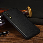Soft Luxury Leather Snap On Case Cover S04 for Huawei P30 Black