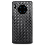 Soft Silicone Gel Leather Snap On Case Cover D01 for Huawei Mate 30 Pro Black