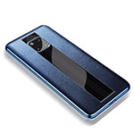 Soft Silicone Gel Leather Snap On Case Cover for Huawei Mate 20 RS Blue