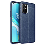 Soft Silicone Gel Leather Snap On Case Cover for OnePlus 8T 5G Blue