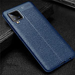 Soft Silicone Gel Leather Snap On Case Cover for Samsung Galaxy A42 5G Blue