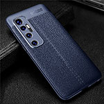 Soft Silicone Gel Leather Snap On Case Cover for Xiaomi Mi 10 Ultra Blue