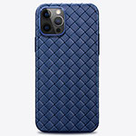 Soft Silicone Gel Leather Snap On Case Cover H01 for Apple iPhone 12 Pro Blue