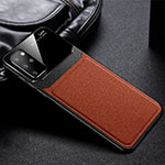 Soft Silicone Gel Leather Snap On Case Cover H01 for Samsung Galaxy S20 Plus 5G Brown