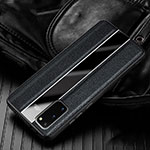 Soft Silicone Gel Leather Snap On Case Cover H02 for Samsung Galaxy S20 5G Black