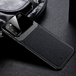 Soft Silicone Gel Leather Snap On Case Cover H04 for Samsung Galaxy S20 5G Black