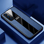 Soft Silicone Gel Leather Snap On Case Cover H05 for Oppo Reno4 Pro 5G Blue