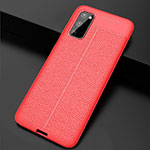 Soft Silicone Gel Leather Snap On Case Cover H05 for Samsung Galaxy S20 5G Red