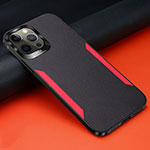 Soft Silicone Gel Leather Snap On Case Cover N01 for Apple iPhone 12 Pro Black