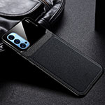 Soft Silicone Gel Leather Snap On Case Cover S01 for Oppo Reno4 Pro 5G Black