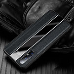 Soft Silicone Gel Leather Snap On Case Cover S04 for Oppo Find X2 Neo Black