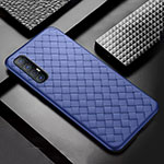 Soft Silicone Gel Leather Snap On Case Cover S08 for Oppo Find X2 Neo Blue