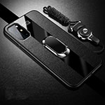 Soft Silicone Gel Leather Snap On Case Cover with Magnetic Finger Ring Stand for OnePlus 8T 5G Black