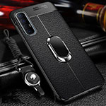 Soft Silicone Gel Leather Snap On Case Cover with Magnetic Finger Ring Stand for Oppo Find X2 Neo Black