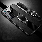 Soft Silicone Gel Leather Snap On Case Cover with Magnetic Finger Ring Stand for Xiaomi Mi 10 Ultra Black
