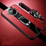 Soft Silicone Gel Leather Snap On Case Cover with Magnetic Finger Ring Stand for Xiaomi Mi 10T Lite 5G Red
