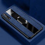 Soft Silicone Gel Leather Snap On Case Cover with Magnetic Finger Ring Stand S01 for Huawei Enjoy 10S Blue
