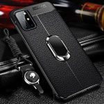 Soft Silicone Gel Leather Snap On Case Cover with Magnetic Finger Ring Stand S01 for OnePlus 8T 5G Black