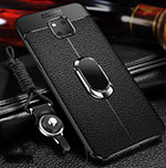 Soft Silicone Gel Leather Snap On Case Cover with Magnetic Finger Ring Stand T01 for Huawei Mate 20 Pro Black