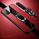 Soft Silicone Gel Leather Snap On Case Cover with Magnetic Finger Ring Stand T01 for Oppo Reno4 Pro 5G Red
