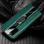 Soft Silicone Gel Leather Snap On Case Cover with Magnetic Finger Ring Stand T02 for Samsung Galaxy S20 5G Green