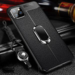 Soft Silicone Gel Leather Snap On Case Cover with Magnetic Finger Ring Stand T03 for Apple iPhone 11 Pro Black