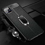 Soft Silicone Gel Leather Snap On Case Cover with Magnetic Finger Ring Stand T04 for Apple iPhone 11 Pro Black