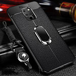 Soft Silicone Gel Leather Snap On Case Cover with Magnetic Finger Ring Stand T04 for Huawei Mate 20 Black