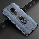Soft Silicone Gel Leather Snap On Case Cover with Magnetic Finger Ring Stand T05 for Huawei Mate 20 Blue