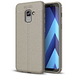 Soft Silicone Gel Leather Snap On Case for Samsung Galaxy A5 (2018) A530F Gray