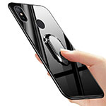 Soft Silicone Gel Mirror Cover with Finger Ring Stand for Xiaomi Mi 6X Black