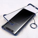 Transparent Crystal Hard Rigid Case Back Cover S01 for Samsung Galaxy A80 Blue